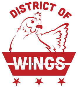 The best wings in DC, District of Wings logo chicken in a basket that is made from the DC Flag